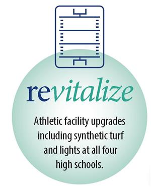 revitalize logo circle with a sports field on top