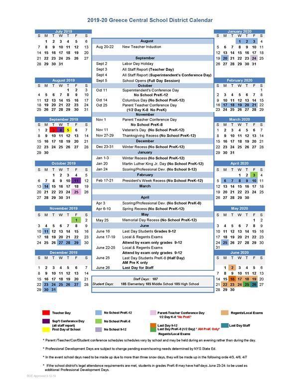 Olympia School District Calendar.2019 20 Greece Central Calendar Approved