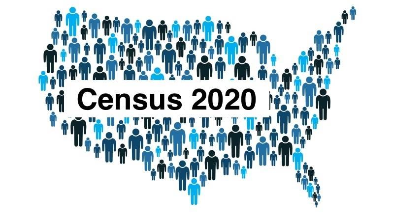 Picture of the map of the US with people making up the map and the words Census 2020 in the middle