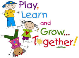Drawing of kids with the words play, learn and grow together!