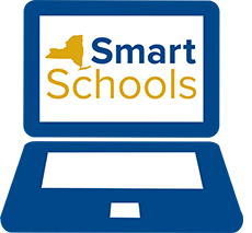 Picture of a computer with the words Smart Schools and a shape of NYS on the screen
