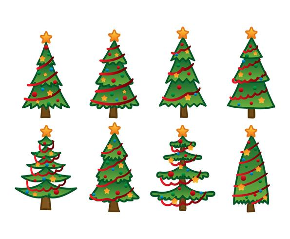 Drawings of multiple decorated Christmas trees