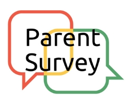 Picture of two thought bubbles coming together with the words parent survey inside the bubbles